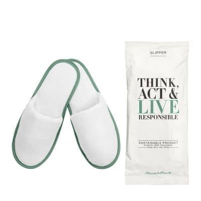 Think, Act & Live Responsible - Slipper aus Bambusfasern, geschlossen, 30cm